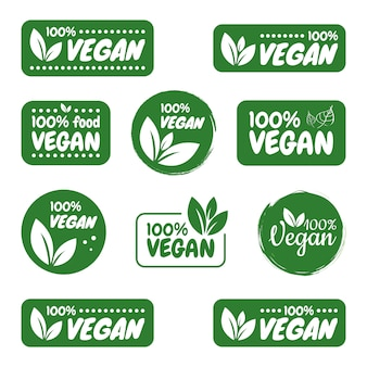 Zestaw ikon wegańskich. wegańskie logo i odznaki, etykieta, tag. zielony liść na białym tle. ilustracja.