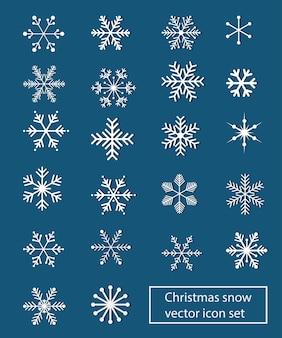 Zestaw ikon wektor boże narodzenie śnieg