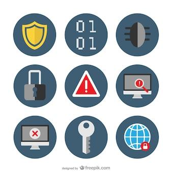 Zestaw ikon wektorowych bezpieczeństwa płaski