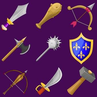 Zestaw ikon wektorowych kreskówek broni