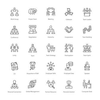 Zestaw ikon wektorowych linii zasobów ludzkich