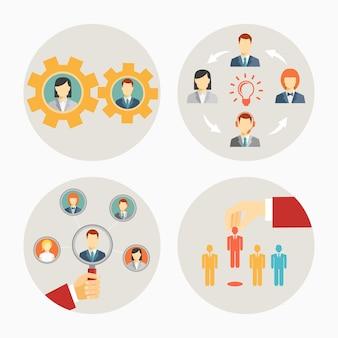 Zestaw ikon wektorowych ludzi biznesu i pracowników w kręgach przedstawiających zestaw kół zębatych do pracy zespołowej, burzy mózgów przywództwo grupy lub zespołu oraz rekrutacja lub zwolnienie