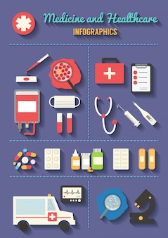 Zestaw ikon wektorowych medycznych. elementy infografiki opieki zdrowotnej.