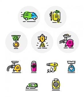Zestaw ikon wektorowych na różne tematy. puchar. elektryczne urządzenia gospodarstwa domowego.