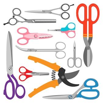 Zestaw ikon wektorowych nożyczki