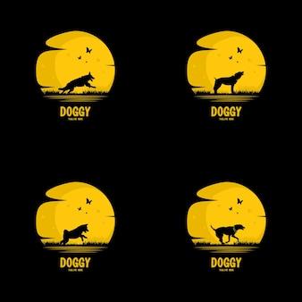 Zestaw ikon wektorowych psy na białym tle na tle księżyca