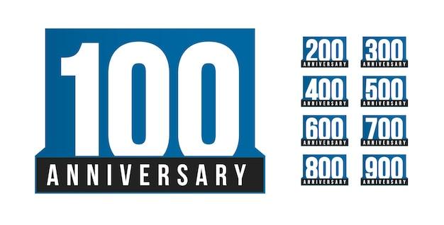 Zestaw ikon wektorowych rocznica. szablon logo urodziny. element projektu kartkę z życzeniami. godło stulecia prosty biznes. niebieski ścisły numer stylu. ilustracja wektorowa na białym tle na białym tle