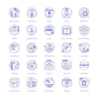 Zestaw ikon wektorowych seo