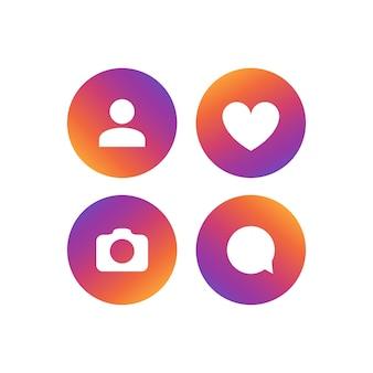 Zestaw ikon wektorowych sieci społecznej. obserwatorzy, komentarze, zdjęcia, polubienia. element symbolu ludzi mediów społecznościowych.