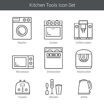 Zestaw ikon wektorowych urządzeń gospodarstwa domowego: kuchenka, pralka, mikser, toster, kuchenka mikrofalowa, czajnik