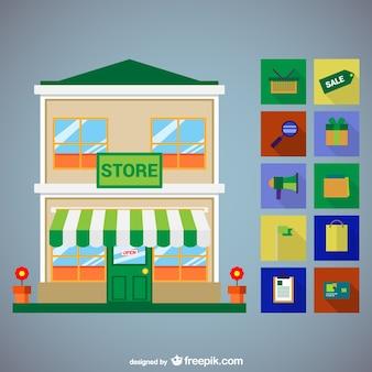 Zestaw ikon wektorowych w sklepach