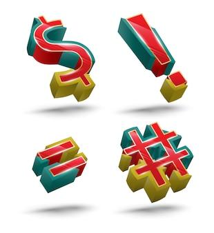 Zestaw ikon wektorowych w stylu 3d