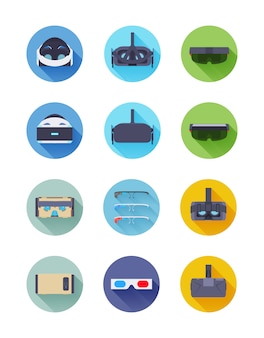 Zestaw ikon wektorowych wirtualnej i rozszerzonej rzeczywistości