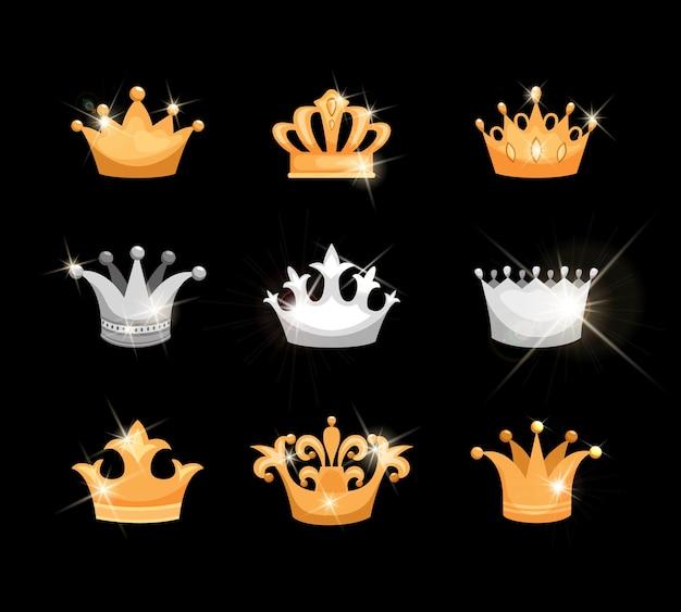 Zestaw ikon wektorowych złotych i srebrnych koron przedstawiających dziewięć różnych wzorów odpowiednich dla rodziny królewskiej lub heraldyki z błyszczącymi, migoczącymi elementami metalicznymi lub klejnotami
