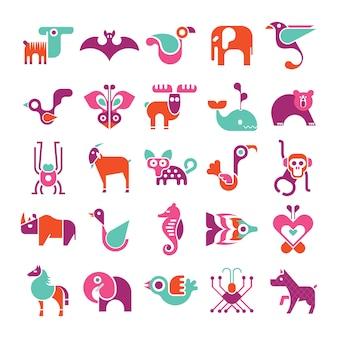 Zestaw ikon wektorowych zwierząt