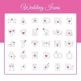 Zestaw ikon wesele w stylu konspektu