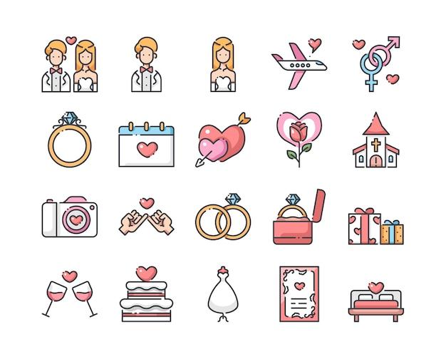 Zestaw ikon wesele