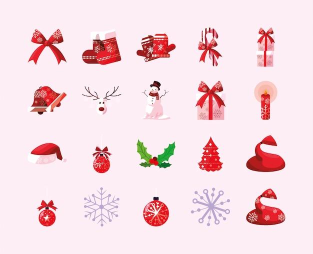Zestaw ikon wesołych świąt