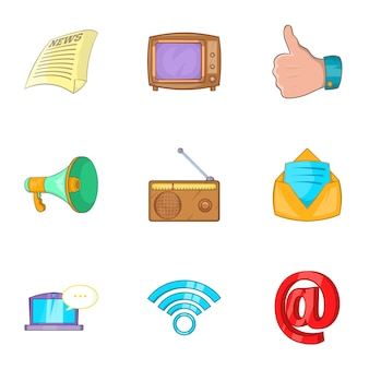 Zestaw ikon wiadomości, stylu cartoon