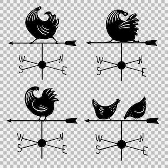 Zestaw ikon wiatrowskaz. logo z kogutem. odosobniony