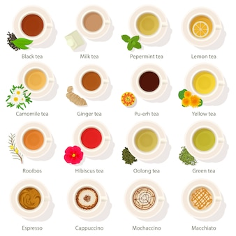 Zestaw ikon widok z góry na napój kubek. ilustracja kreskówka mieszkanie 16 kubek napój widok z góry wektorowe ikony dla sieci