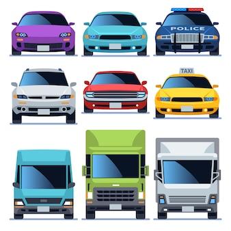 Zestaw ikon widok z przodu samochodu. pojazdy jazdy auto serwis policja ciężarówka sedan taksówka ładunek samochody drogowy transport miejski