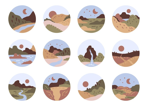 Zestaw ikon widoku abstrakcyjnego krajobrazu góry rzeki widok na morze