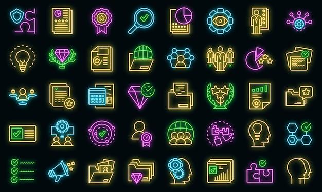 Zestaw ikon wiedzy. zarys zestaw ikon wektorowych ekspertyzy w kolorze neonowym na czarno