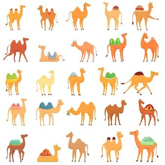 Zestaw ikon wielbłąda. kreskówka zestaw ikon wielbłąda