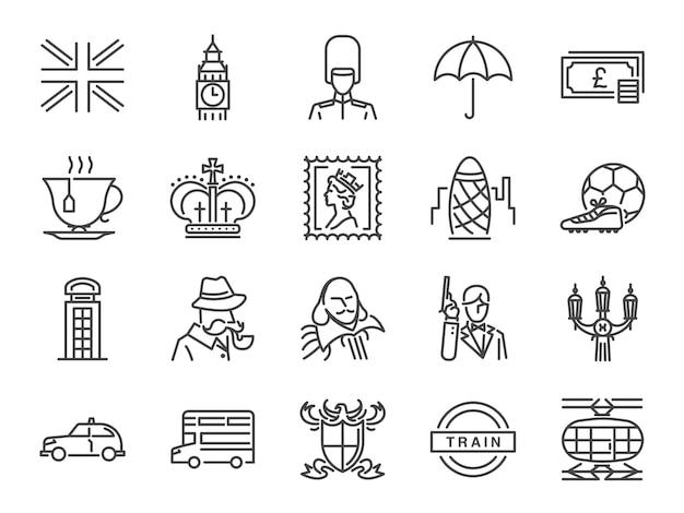Zestaw ikon wielka brytania