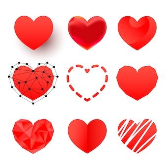 Zestaw ikon wielokąta czerwone serce
