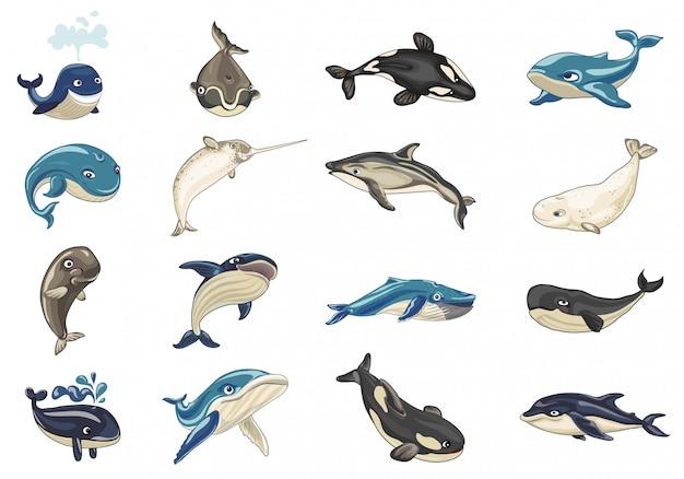 Zestaw ikon wielorybów. kreskówka zestaw ikon wielorybów