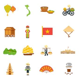 Zestaw ikon wietnamu