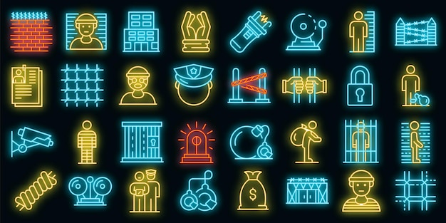 Zestaw ikon więzienia. zarys zestaw ikon wektorowych więzienia neon kolor na czarno