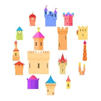 Zestaw ikon wieży zamku kolor, stylu cartoon