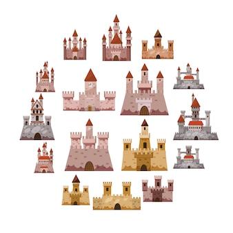 Zestaw ikon wieży zamku, stylu cartoon