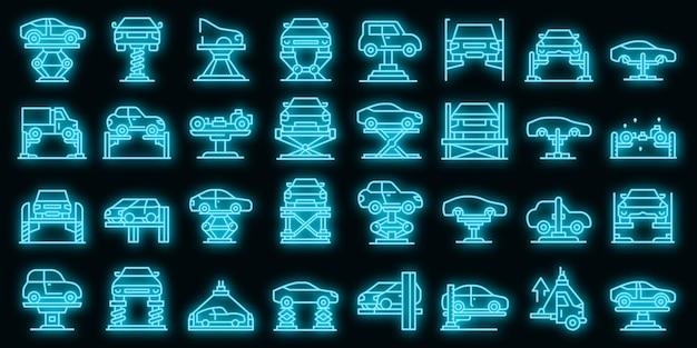 Zestaw ikon windy samochodowej wektor neon