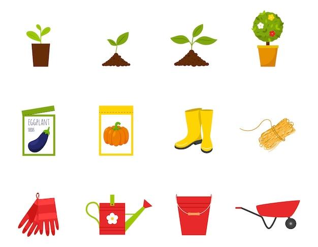 Zestaw ikon. wiosna, sadzonki, kiełki, młode rośliny, buty, nasiona, lina, rękawiczki, narzędzia ogrodowe
