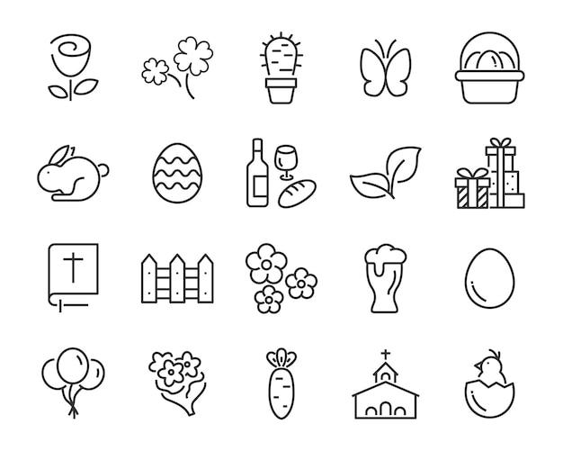 Zestaw ikon wiosny, żniwa, gospodarstwo, wielkanoc, kwiat, deszcz, ogród