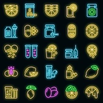 Zestaw ikon witaminy c wektor neon