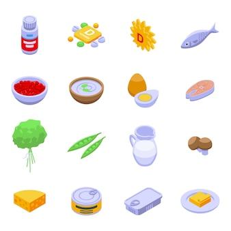 Zestaw ikon witaminy d. izometryczny zestaw ikon wektorowych witaminy d do projektowania stron internetowych na białym tle