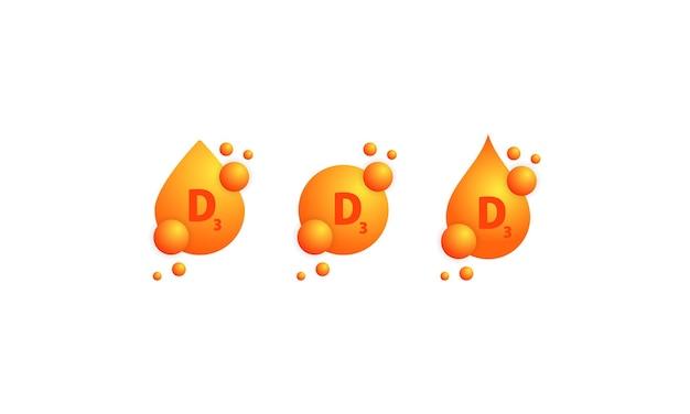 Zestaw ikon witaminy d3. lśniąca złota kropla substancji. zabiegi kosmetyczne, odżywianie, pielęgnacja skóry. kompleks witaminowy o wzorze chemicznym, grupa d3, tiamina. wektor na na białym tle.