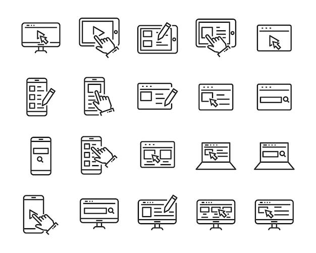 Zestaw ikon witryny, takich jak sieć, przeglądarka, sieć, pisanie, blogger
