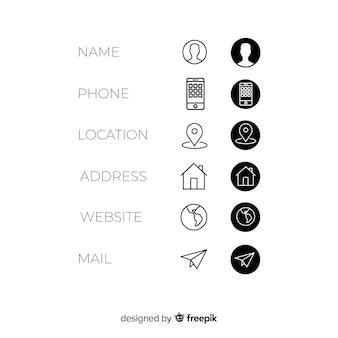 Zestaw ikon wizytówki