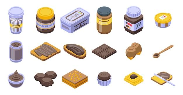 Zestaw ikon wklej czekolady. izometryczny zestaw ikon pasty czekoladowej dla sieci na białym tle