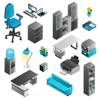 Zestaw ikon wnętrz biurowych