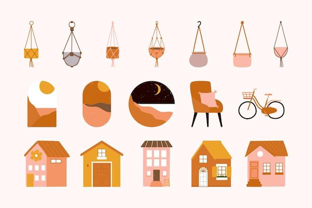 Zestaw ikon wnętrza czeskiego salonu na białym tle