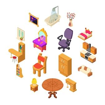 Zestaw ikon wnętrza domu, styl izometryczny