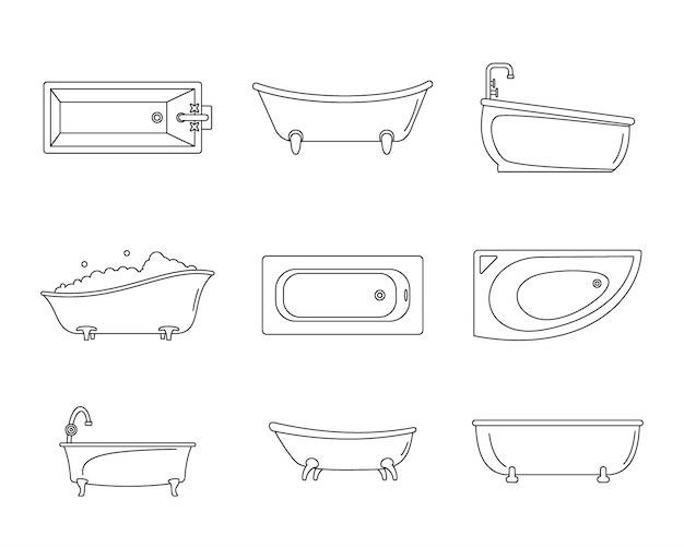 Zestaw ikon wnętrza wanny