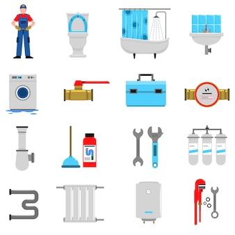 Zestaw ikon wodno-kanalizacyjnych
